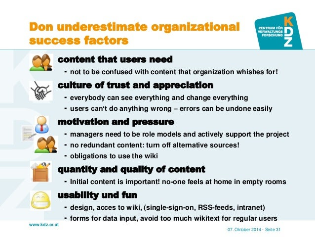 www.kdz.or.at  Don underestimate organizational success factors  content that users need  not to be confused with conten...