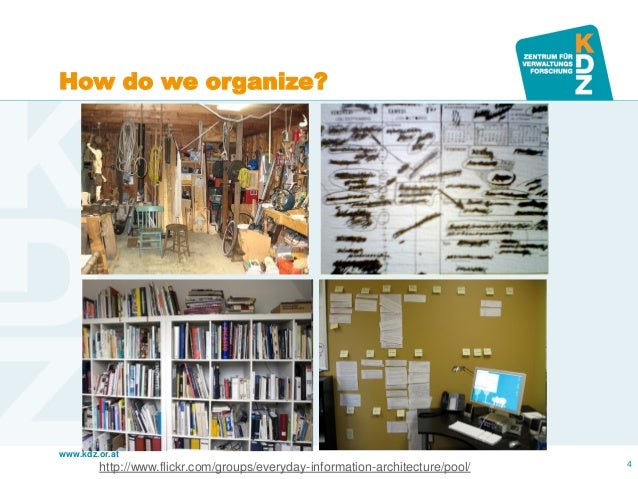 www.kdz.or.at  4  http://www.flickr.com/groups/everyday-information-architecture/pool/  How do we organize?