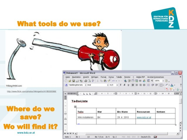 www.kdz.or.at  What tools do we use?  http://www.flickr.com/photos/hikingartist/4193330368/  Where do we save? Wo will fin...