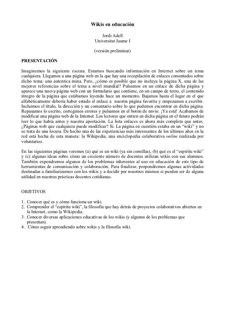 Wikis en educación                                           Jordi Adell                                        Universita...