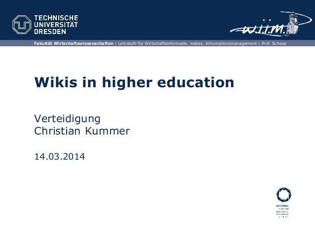 Fakultät Wirtschaftswissenschaften | Lehrstuhl für Wirtschaftsinformatik, insbes. Informationsmanagement | Prof. Schoop Wi...