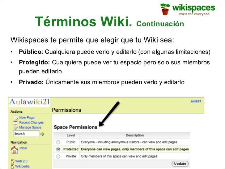 Términos Wiki. Continuación Wikispaces te permite que elegir que tu Wiki sea: •   Público: Cualquiera puede verlo y editar...