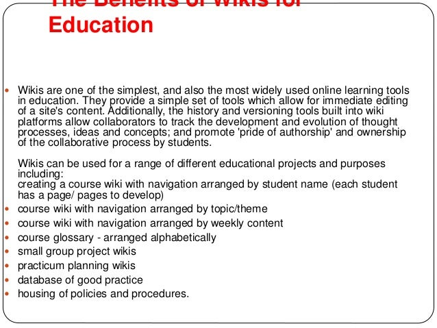 5. The Benefits of Wikis ...