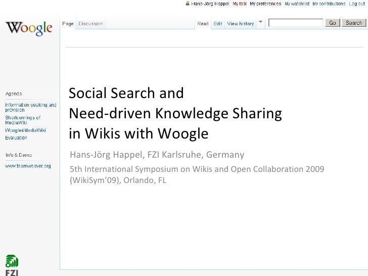 Social Search and Need-driven Knowledge Sharing in Wikis with Woogle  Hans-Jörg Happel, FZI Karlsruhe, Germany 5th Interna...