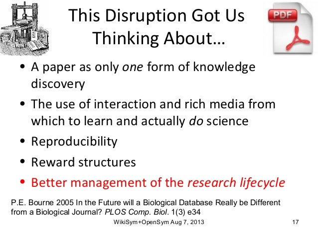 This Disruption Got Us Thinking About… • A paper as only one form of knowledge discovery • The use of interaction and rich...