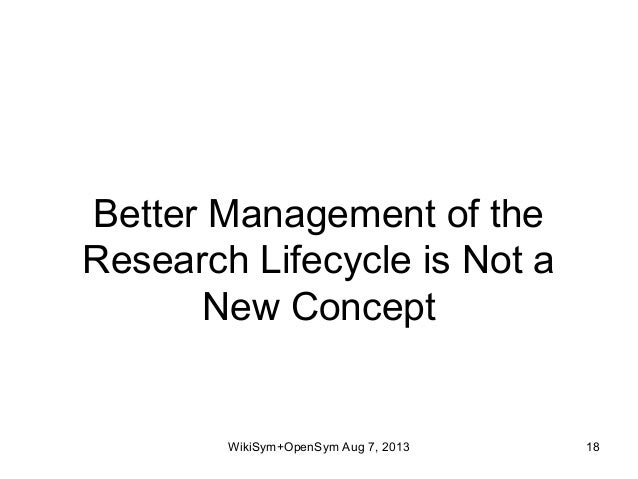 Better Management of the Research Lifecycle is Not a New Concept WikiSym+OpenSym Aug 7, 2013 18