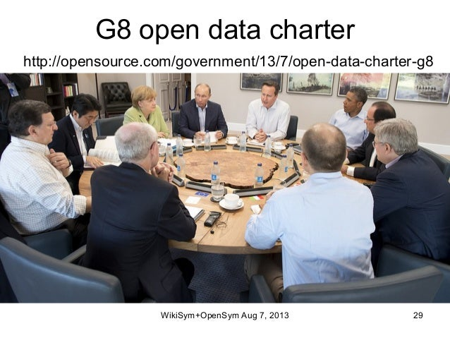 G8 open data charter http://opensource.com/government/13/7/open-data-charter-g8 WikiSym+OpenSym Aug 7, 2013 29