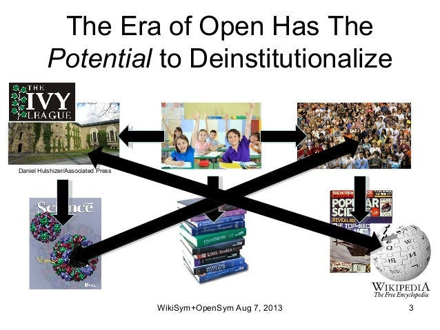 The Era of Open Has The Potential to Deinstitutionalize WikiSym+OpenSym Aug 7, 2013 3 Daniel Hulshizer/Associated Press