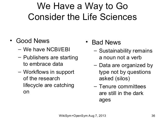 We Have a Way to Go Consider the Life Sciences • Good News – We have NCBI/EBI – Publishers are starting to embrace data – ...