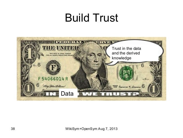 Build Trust 38 Data Trust in the data and the derived knowledge WikiSym+OpenSym Aug 7, 2013