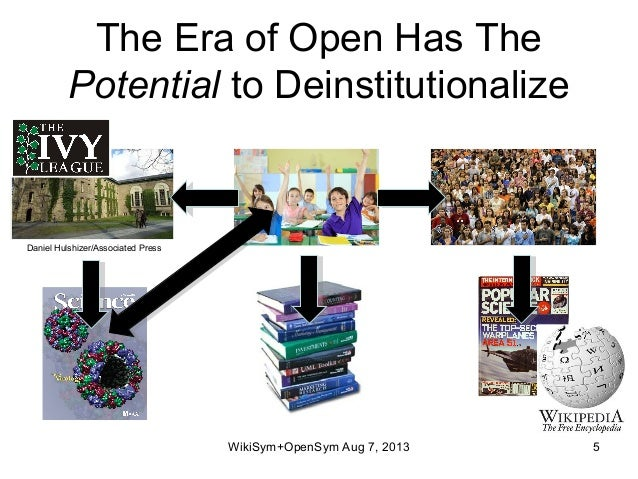 The Era of Open Has The Potential to Deinstitutionalize WikiSym+OpenSym Aug 7, 2013 5 Daniel Hulshizer/Associated Press