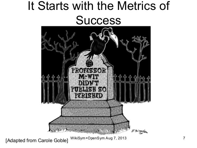 It Starts with the Metrics of Success [Adapted from Carole Goble] WikiSym+OpenSym Aug 7, 2013 7