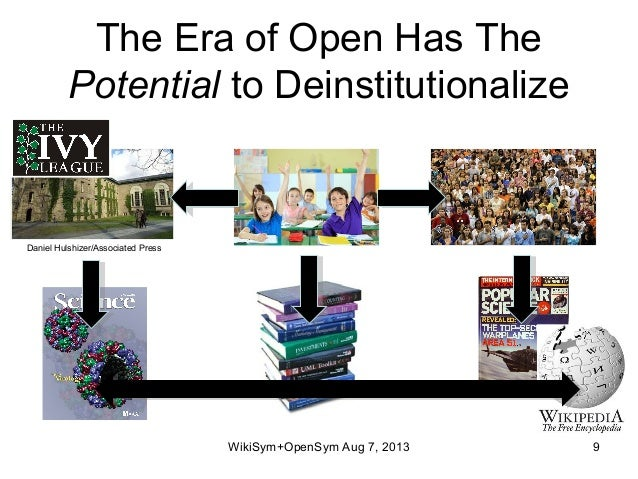 The Era of Open Has The Potential to Deinstitutionalize WikiSym+OpenSym Aug 7, 2013 9 Daniel Hulshizer/Associated Press