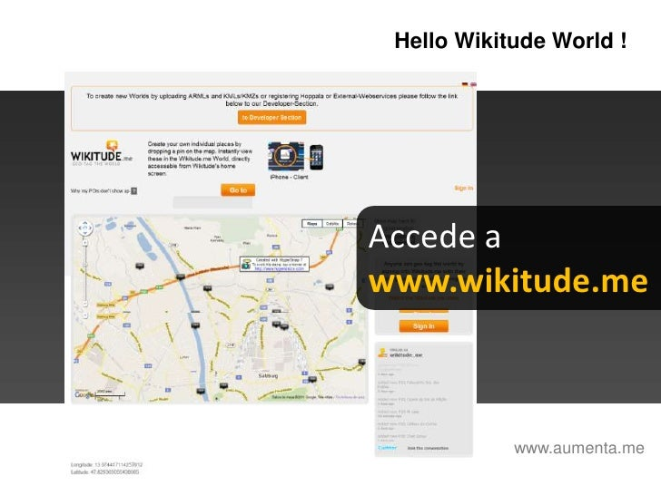 HelloWikitudeWorld !<br />Accede a <br />www.wikitude.me<br />www.aumenta.me<br />
