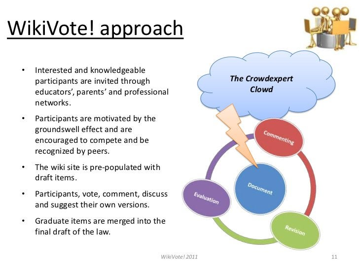 WikiVote! approach<br />Interested and knowledgeable participants are invited through educators', parents' and professiona...