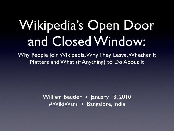 Wikipedia's Open Door and Closed Window