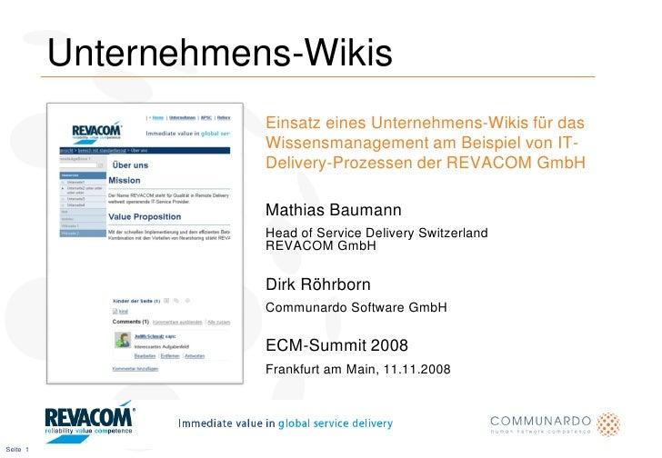 Unternehmens-Wikis                      Einsatz eines Unternehmens-Wikis für das                      Wissensmanagement am...