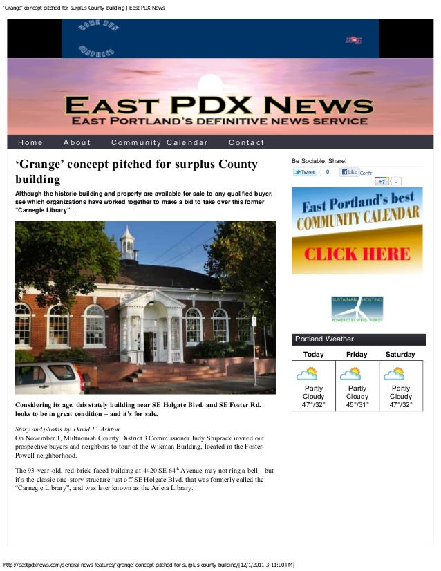 'Grange' concept pitched for surplus County building   East PDX News    The classic design of this building was created by...