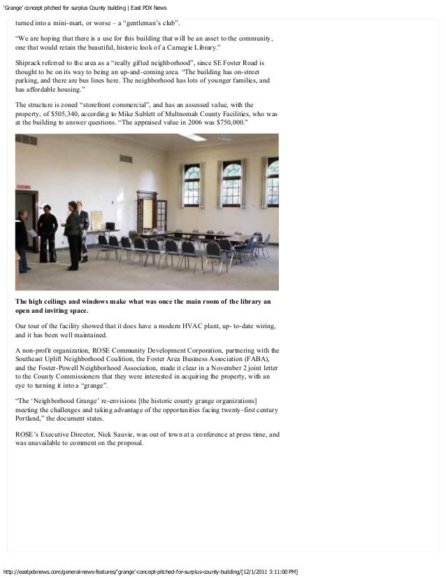 """'Grange' concept pitched for surplus County building   East PDX News    Perhaps this building will become a modern """"grange..."""