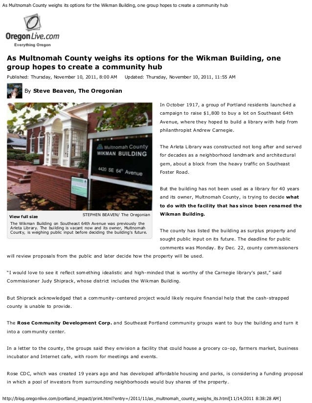 """As Multnomah County weighs its options for the Wikman Building, one group hopes to create a community hub  """"It's a very be..."""