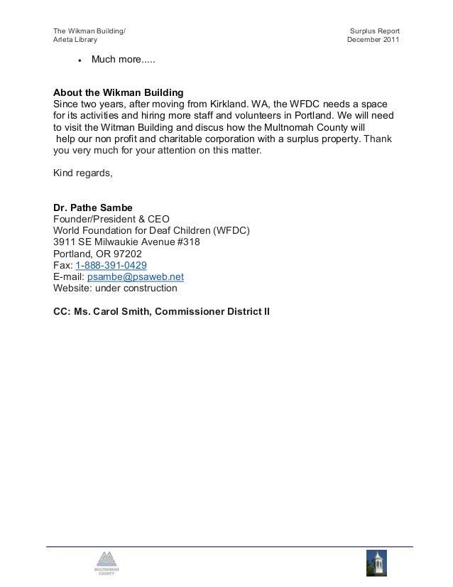 The Wikman Building/                     Surplus ReportArleta Library                          December 2011Attachment F: ...