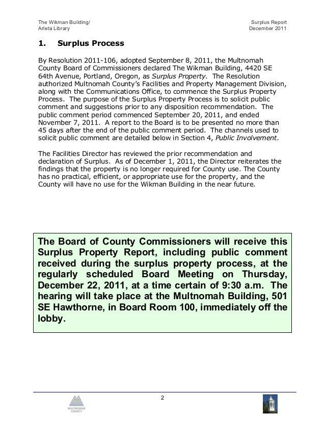 The Wikman Building/                                              Surplus ReportArleta Library                            ...