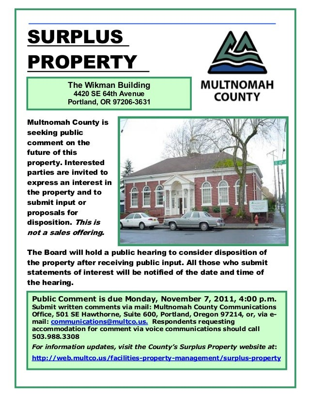 SURPLUSPROPERTY           The Wikman Building            4420 SE 64th Avenue           Portland, OR 97206-3631Multnomah Co...