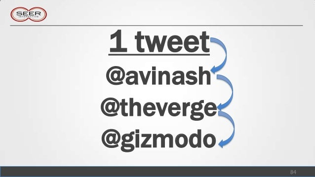 1 tweet@avinash@theverge@gizmodo            84