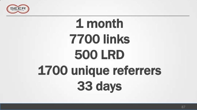 1 month    7700 links      500 LRD1700 unique referrers      33 days                        87
