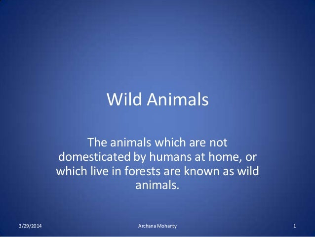 Wild Animals The animals which are not domesticated by humans at home, or which live in forests are known as wild animals....