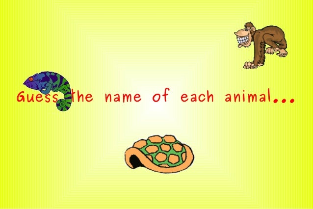 Guess the name of each animal...