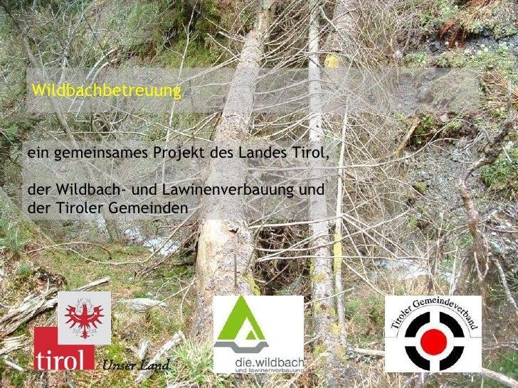 Wildbachbetreuung ein gemeinsames Projekt des Landes Tirol,  der Wildbach- und Lawinenverbauung und  der Tiroler Gemeinden