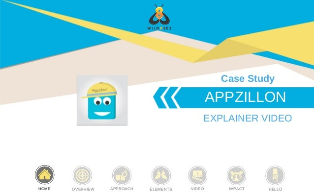 APPZILLON EXPLAINER VIDEO Case Study HOME OVERVIEW APPROACH ELEMENTS VIDEO IMPACT HELLO