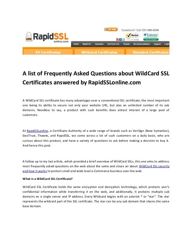 A List Of Frequently Asked Questions About Wildcard Ssl Certificates