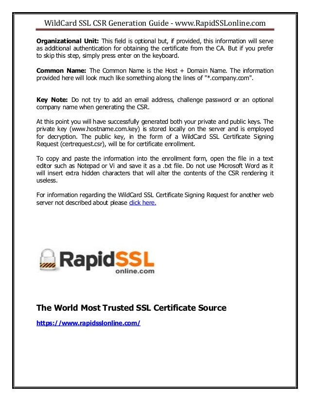 A Guide For Wildcard Ssl Csr Generation From Rapidsslonline