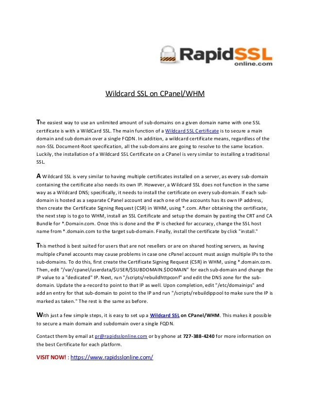 How To Install Wildcard Ssl On Cpanel And Whm Rapidsslonline