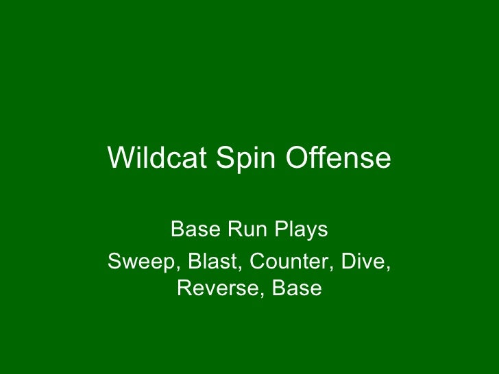 Wildcat Spin Offense Base Run Plays Sweep, Blast, Counter, Dive, Reverse, Base