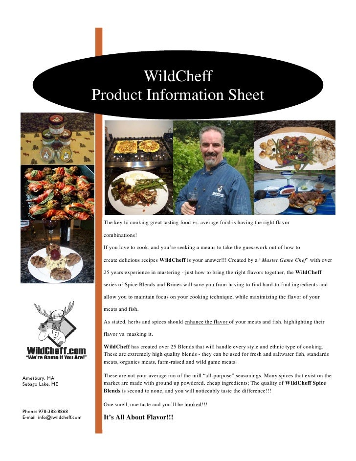 WildCheff                               Product Information Sheet                                    The key to cooking gr...