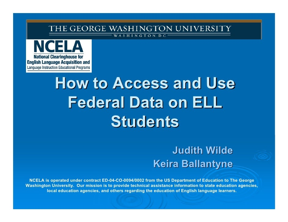 How to Access and Use               Federal Data on ELL                     Students                                      ...
