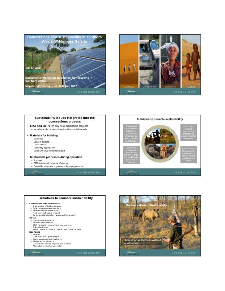 Concessions and sustainability in southern        Africa: Wilderness SafarisSue Snymansues@wilderness.co.zaInternational W...