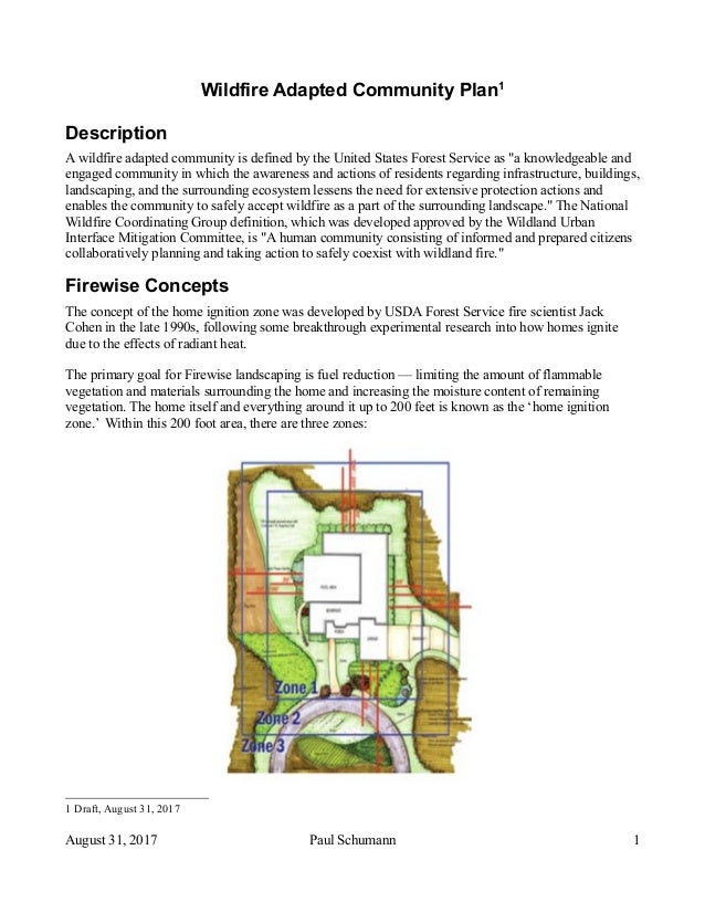 Wildfire Adapted Community Plan1 Description A wildfire adapted community is defined by the United States Forest Service a...