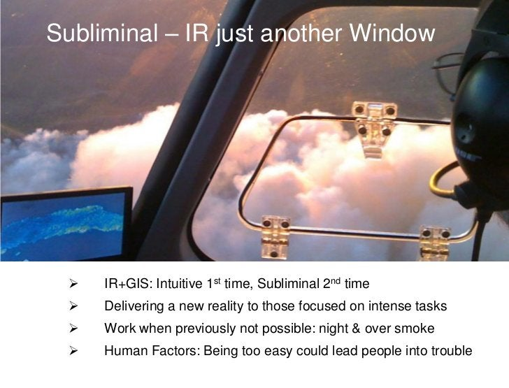 Subliminal – IR just another Window    IR+GIS: Intuitive 1st time, Subliminal 2nd time    Delivering a new reality to th...