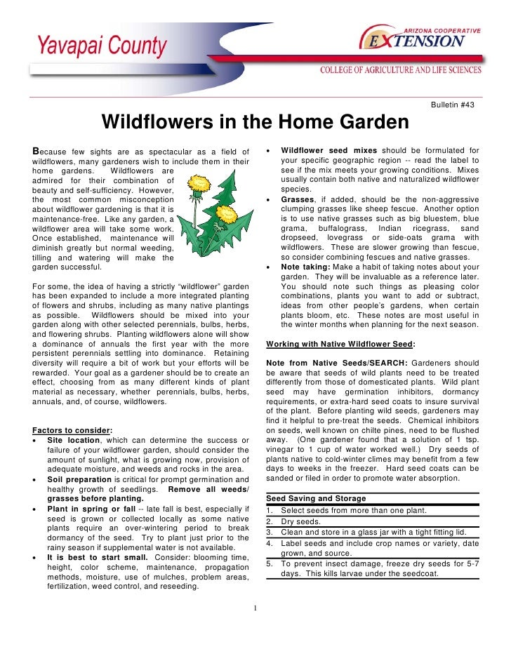 Bulletin #43                   Wildflowers in the Home GardenBecause few sights are as spectacular as a field of          ...