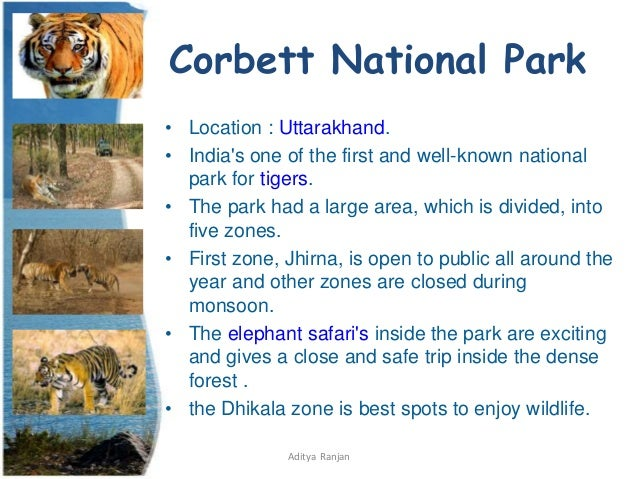 Parks pdf of national list in india