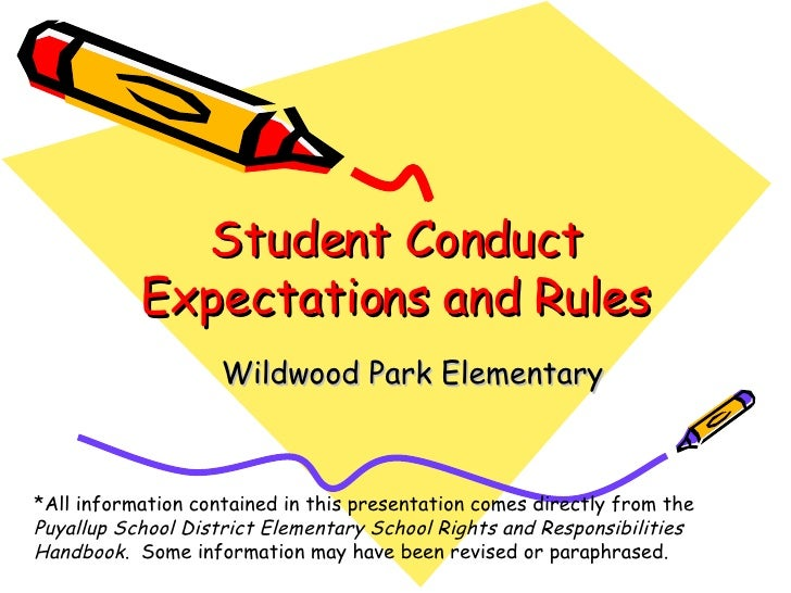 Student Conduct Expectations and Rules Wildwood Park Elementary *All information contained in this presentation comes dire...