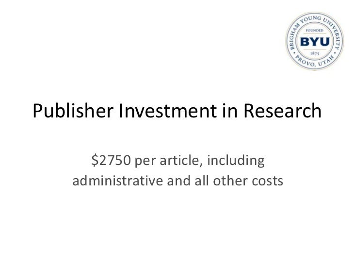 Public Investment in Research<br />$105,385 to $119,913 per article<br />(U.S. NIH-funded research)<br />