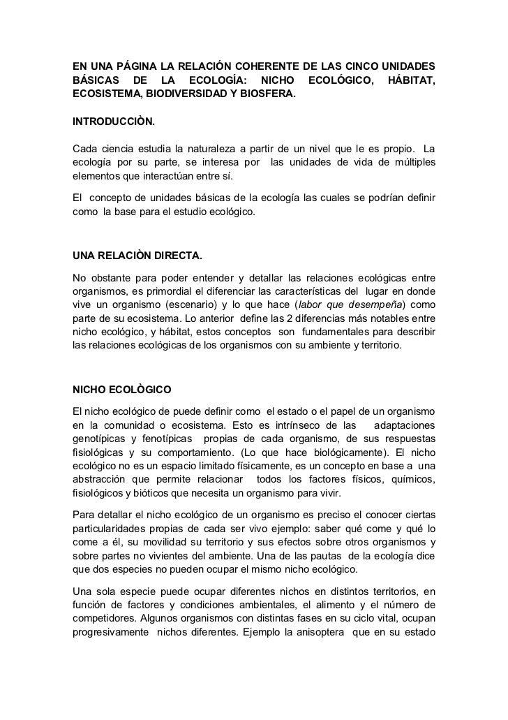 EN UNA PÁGINA LA RELACIÓN COHERENTE DE LAS CINCO UNIDADESBÁSICAS DE LA ECOLOGÍA: NICHO ECOLÓGICO, HÁBITAT,ECOSISTEMA, BIOD...