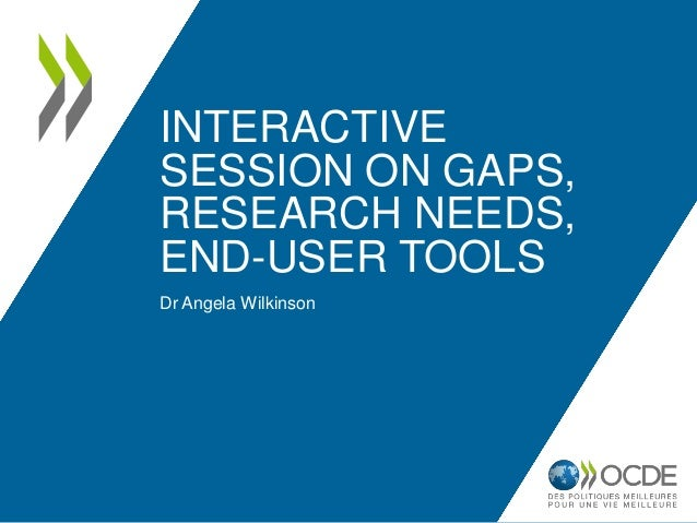 INTERACTIVE SESSION ON GAPS, RESEARCH NEEDS, END-USER TOOLS Dr Angela Wilkinson