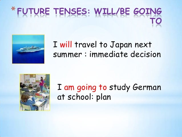 *FUTURE TENSES: WILL/BE GOINGTOI will travel to Japan nextsummer : immediate decisionI am going to study Germanat school: ...