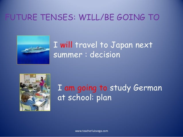 FUTURE TENSES: WILL/BE GOING TO I will travel to Japan next summer : decision I am going to study German at school: plan w...